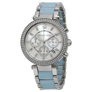 Buy Imported Michael Kors Parker Mother Of Pearl Dial Silver And Blue Stainless Steel Mk 6138 online