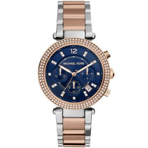 Buy Michael Kors Women'S  Rosegold-Silver Tone Chronograph Blue Dial Watch(Imported) online