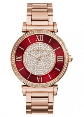 1892436a62de Buy Michael Kors Mk3377 Caitlin Red Crystal-set Dial Rose Gold-plated Ladies  Watch