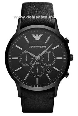 Buy Imported Original Emporio Armani Full Black Ar2461,mens Chronograph Leather Strap Watch online