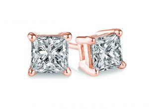 Buy Sheetal Diamonds 0.40tcw Real Princess Cut Diamond Stud Earring In Rose Gold E0105r-18k online