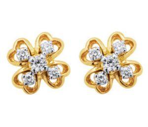 Buy Sheetal Diamonds 0.20tcw Brilliant Cut Round Shape Diamond Floral Earring 18k Yellow Gold E0275-18k online
