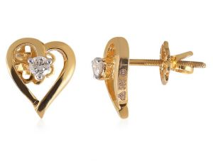 Buy Sheetal Diamonds 0.10tcw Round Shape Diamond Party Wear Heart Shape Earring E0285-18k online