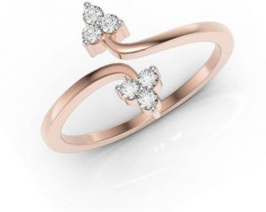 Sheetal Diamonds 0.12TCW Real Round Diamond  Party Wear Designer Ring In Rose Gold R0461-18K