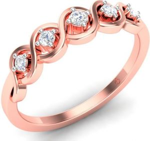 Buy Sheetal Diamonds 0.25tcw Real Round Five Diamond Party Wear Ring In Rose Gold R0479-14k online