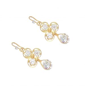 Buy FashBlush Golden Crystal Hot Shining Dangle Earring - Set Of 2 Pairs online