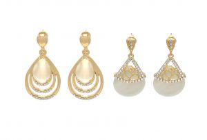 Buy FashBlush Chic Golden Geometric -Set of 2 Zircon Alloy Dangle Earring online