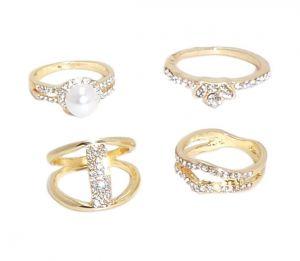 f5dc5f0968b FashBlush Alloy Cubic Zirconia Yellow Gold Ring Set