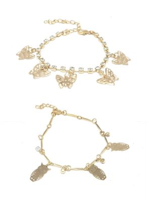 Buy FashBlush Golden Butterfly Owl Cubic Zirconia Charms Anklets -Pack of 2 online