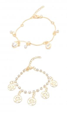Buy FashBlush Golden Round Flower Cubic Zirconia Charms Anklets -Pack of 2 online