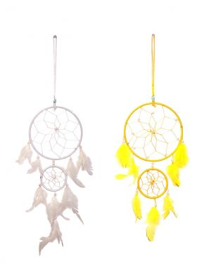 Buy Fashblush Mystical Feathers Dream Catchers (pack Of 2) Wool Windchime (product Code Fb64073) online