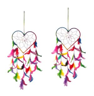 Buy Fashblush White And Red Mystical Feathers Dream Catchers Set Of 2 (product Code Fb64085) online