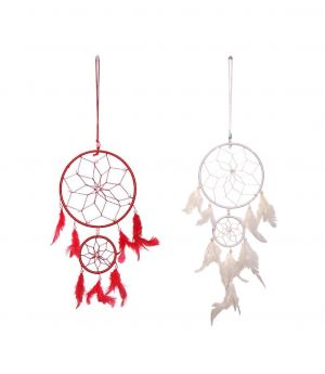 Buy Fashblush Red And White Mystical Feathers Dream Catchers Set Of 2 online