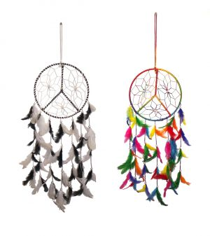 Buy Fashblush Multicolor Mystical Feathers Dream Catchers / Windchime / Home Dcor Set Of 2 (27x8 Inches) online