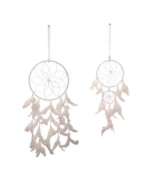 Buy FashBlush White Mystical Feathers Dream Catchers (Set Of 2) online