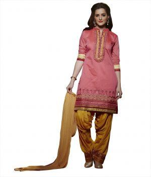 Buy Kvsfab Pink Pure Chanderi Embroiderd Patiala Dress Material Kvssk280Sunh online