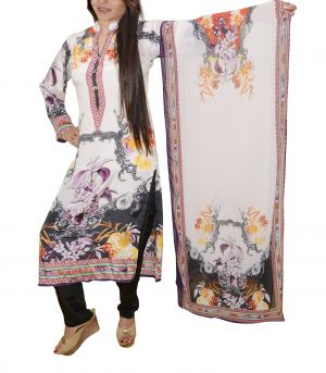 Buy Comfty Designer Ankle Length Stitched Kurti-pant Set With A Stole online