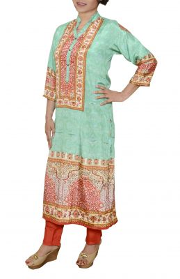 Buy Comfty Long Printed Designer Stitched Kurti With Pants online