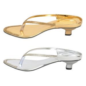 Buy Combo Pack Of Two Multi-color Stylish Heel For Women (code - 1518_2_1318_gld_sil) online