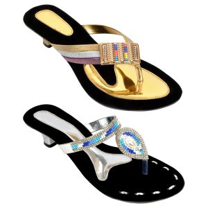 Buy Combo Pack Of Two Multi-color Designer Heel For Women (code - 1529_2_1344_sil_1345_gld) online