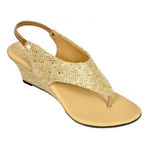 Buy Altek Comfort Stylish Golden Wedges (product Code - Foot_1337_golden) online
