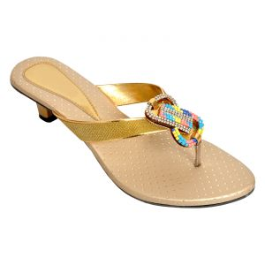 Buy Altek Shiny Comfort Golden Heel Sandal (product Code - Foot_1340_golden) online