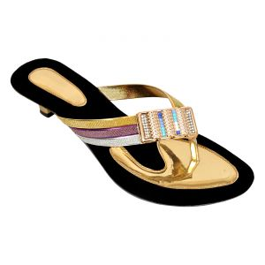 Buy Altek Shiny Comfort Golden Heel Sandal (product Code - Foot_1345_golden) online