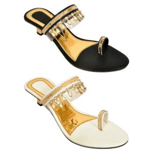 Buy Altek Combo Of Two Stylish Multicolor Heel Sandal For Women (code - Foot_1538_2_1349_wht_blk_p400) online