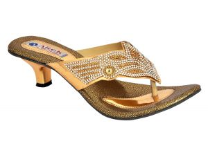 Buy Altek Designer Gold Kitten Heel Sandal (product Code - S1312_gold) online