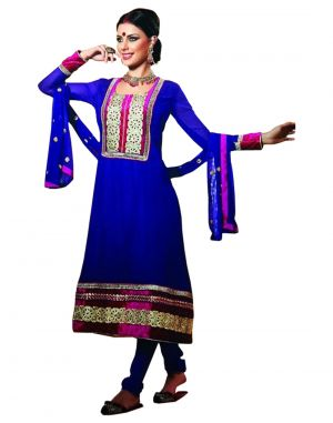 Buy Sinina Georgette Semi Stitched Blue Dress Material-red105tangy16007 online