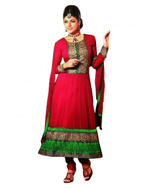 Buy Sinina Georgette Semi Stitched Red Dress Material-red105tangy16009 online