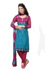 Buy Multi Colour Cotton Embroidered Salwar Kameez Suit Unstitched Dress Material 10lwb116 online