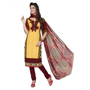 Buy Sinina Women's Crepe Yellow Color Unstitched Dress Material-red10vc9177 online