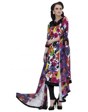 Buy Sinina Multi Color Un Stitched Pure Crepe Dress Material (code - 123tangy6409) online