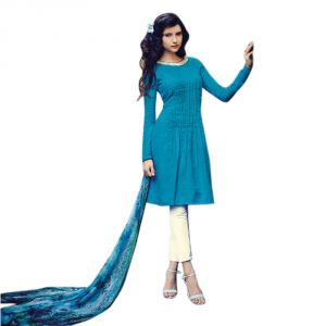 Buy Sinina Blue Color Unstitched Cotton Embroidered Dress Material (code - Fcmonarch9092) online