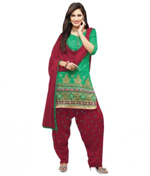 Buy Sinina Green Color Patiala Un Stitched Chanderi Cotton Embroidered Dress Material (code - Phv7805) online