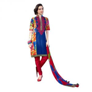 Buy Sinina Multi Color Un Stitched Cotton Embroidered Dress Material (code - Lwb304) online
