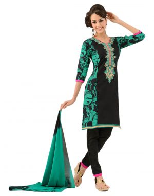 Buy Sinina Multi Color Un Stitched Cotton Embroidered Dress Material (code - Lwbless04) online