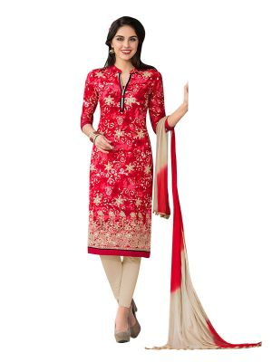 Buy Sinina Red Color Un Stitched Cotton Embroidered Dress Material (code - Pristine03) online