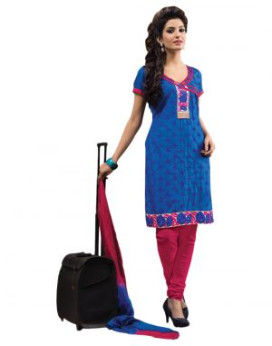 Buy Sinina Blue Color Unstitched Cotton Embroidered Dress Material (code - Rh18pk07) online