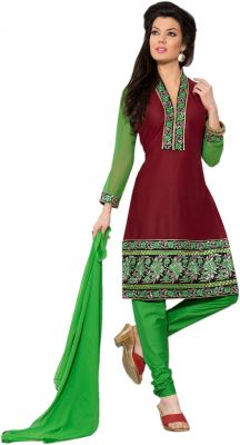 Buy Sinina Brown Color Unstitched Cotton Embroidered Dress Material (code - Rh21pk10) online