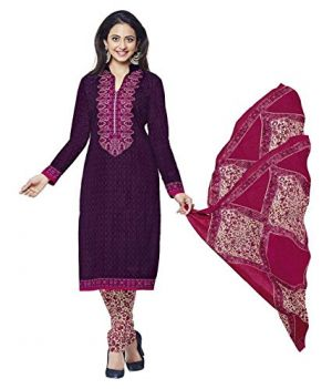 Buy Sinina Purple Cotton Printed Unstitched Dress Material-sgp1402 online