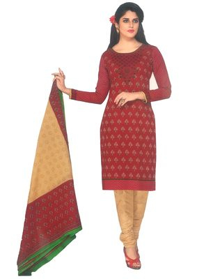 Buy Sinina Red Cotton Printed Unstitched Dress Material-sgp1410 online