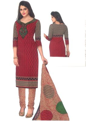Buy Sinina Red Cotton Printed Unstitched Dress Material-sgp1415 online
