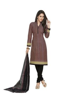 Buy Sinina Brown Cotton Printed Unstitched Dress Material online