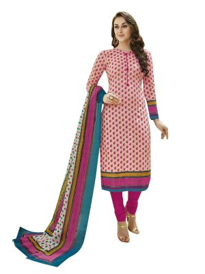 Buy Sinina Pink Cotton Printed Unstitched Dress Material-sgp813 online