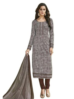Buy Sinina Grey Cotton Printed Unstitched Dress Material online