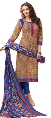 Buy Sinina Multi Color Un Stitched Pure Cotton Printed Dress Material (code - Sj3501) online