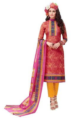 Buy Sinina Multi Color Un Stitched Pure Cotton Printed Dress Material (code - Sj3517) online