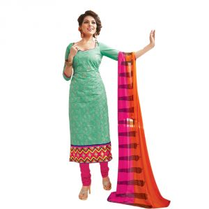 Buy Sinina Aquamarine Green Color Unstitched Cotton Embroidered Dress Material (code - Skmannat636) online